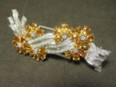 天然イエローサファイア 帯留兼ブローチ ダイアモンド装飾 18K