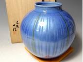 中田一於『淡青釉裏銀彩花瓶』九谷焼
