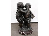 オーギュスト・モロー 少年と少女のブロンズ像