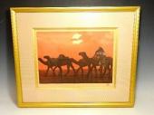 平山郁夫 『シリア砂漠の夕』 銅版画