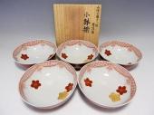 米久和彦 赤絵金襴手小紋桜花図 小鉢5客揃