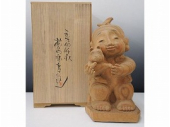 前島秀章 木彫置物「小さな友情」