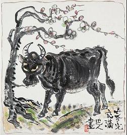白梅青牛図