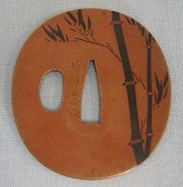 素銅磨地赤銅黒竹平象嵌傑出鐔