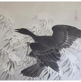 雪中竹鳥図