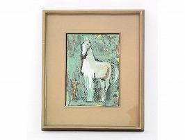 稗田一穂 日本画「白馬」
