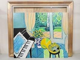 坂口紀良 油彩画「ホルンのある音楽の部屋」