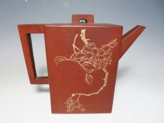 中国茶器 宜興紫砂 漢詩彫花文 水注