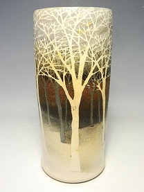 佐伯守美 象嵌樹林文花瓶