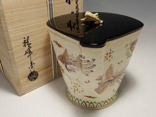 中村秋峰 仁清扇型鳳凰草花絵 京焼