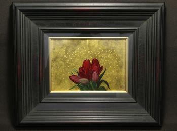小澤一正『日常の静物 チューリップ』油彩画