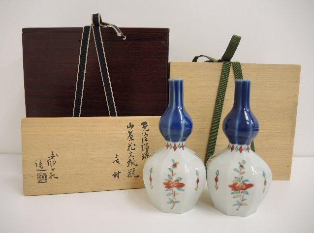色絵瑠璃山茶花文瓢瓶 加藤土師萌