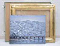 酒井英利 肉筆油彩画「嵐山雪景」
