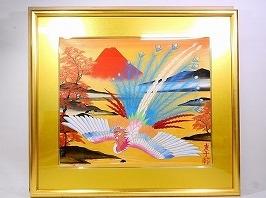 あいはら友子 日本画「赤富士に鳳凰(黄金の川)」